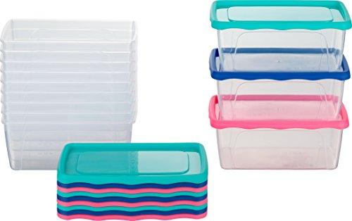 Kigima Frischhaltedosen Gefrierdosen 0,5l 12er Set mit Deckel blau/grün/pink