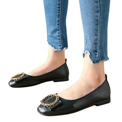 Ballerinas Damen Leder Flacher Schlüpfen Flache Schuhe mit Flachem Absatz Square Toe Einzelne Schuhe Schwarz 36
