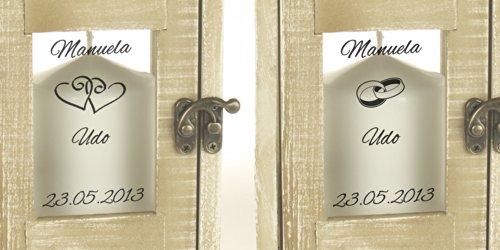 Casa Vivente Romantische Hochzeitslaterne mit Gravur im Antik – Look aus Holz und Metall – Personalisiert mit [WUNSCHNAMEN] und [DATUM] – [ZWEI MOTIVE]