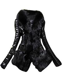 LaoZan Abrigos de Mujer Invierno con Piel Artificial Elegante y Cálido para Invierno - Negro - Large