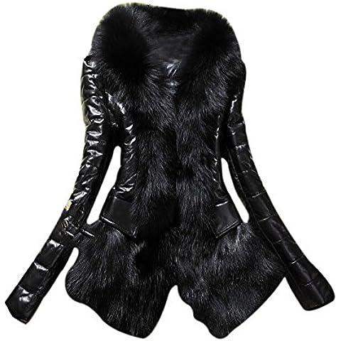 LaoZan Abrigos de Mujer Invierno con Piel Artificial Elegante y Cálido para Invierno - Negro - X Large