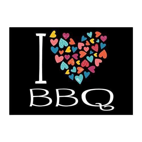 Bars Essen (Idakoos I love BBQ colorful hearts - Essen - Aufkleber Packung x4)