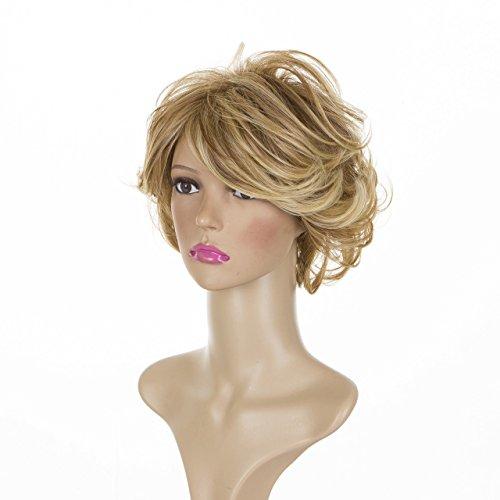 Kurzhaarige, gewellte, schicke Perücke für die reife Frau in Goldblond mit mehrfarbige Highlights | Joan Rivers Frisur (Schicke Perücke Blond In)