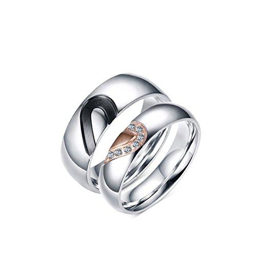 Anazoz acciaio inossidabile puzzle cuore coppia matching set coppia anelli fidanzamento coppia donna misura 20 & uomo misura 17
