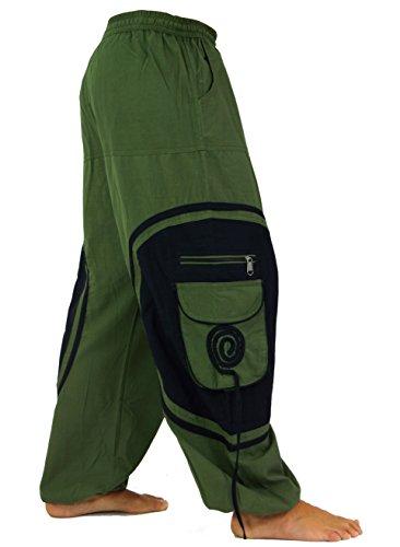 Guru-Shop Goahose, Herren Afghani, Baumwolle, Männerhosen Alternative Bekleidung Olive/Schwarz