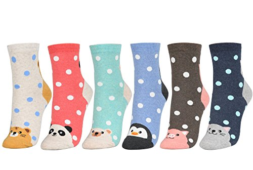 STYLEGAGA Women's Fashion Polka Dot Ankle Socks One Size 6Pair - Animal & Dot -