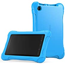 MoKo Fire 7 2015 Funda - Material EVA Lightweight Kids Protector SmartCover Case Cuadrada para Amazon Fire Tablet (7 inch Display - 5th Generation, 2015 Release Only) Tablet, Azul