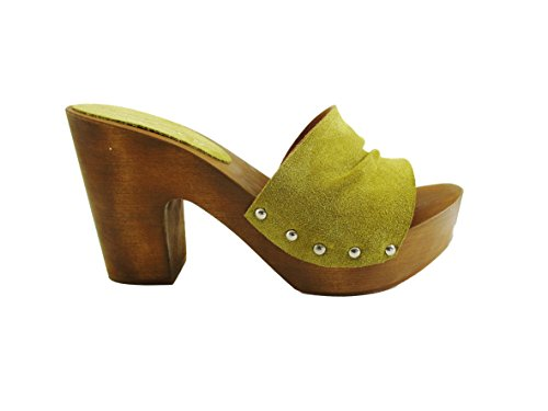 Zoccolo in vero legno e pelle di camoscio, e pelle-Silfer Shoes - Made In Italy- Giallo-Senape