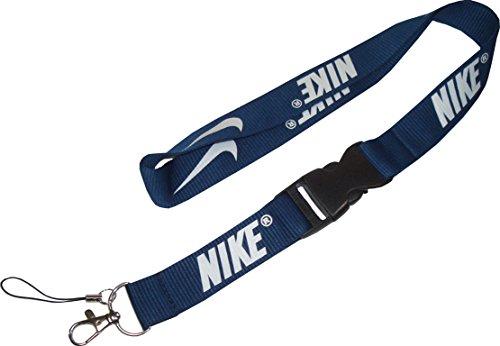 Nike Swoosh Lanyard Keyband. Schlüsselband. Keychain. Neck Holder. iStrap. Solider Karabiner Haken. Strapazierfähig. 100% Nylon. Maße 53 x 2,5 cm (Nike Lanyard Blau)