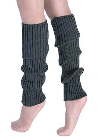 A&Z Super Warme Damen Frauen Beinstulpen Stricken Stiefel Manschetten Socken Leg Knit Stulpen Warmers Socks Cuffs Knie 10 Farben (Dunkelgrau)