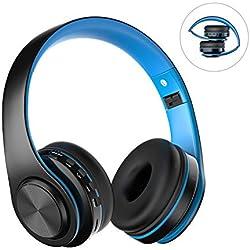 Casque Bluetooth Sans Fil Bluetooth Avec Microphone , ZLX Pliable Stéréo HiFi Basse Profonde Compatible Avec Smartphones Tablettes Ordinateurs TV/PC