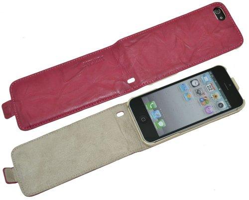 Apple iPhone 5 / 5S / Flip-Style Ledertasche Tasche *ECHT LEDER* Handytasche Case Etui Hülle (Original Suncase®) antik-violett Wash-Pink