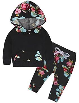 Omiky® Neugeborene Säuglingsbabykleid-lange Hülsen-SatzHoodie Tops + Blumenhosen-Ausstattung