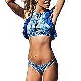iYmitz Frauen Gekräuselten Badebekleidung Neckholder Damen Waist mit Bauchweg Beachwear Patchwork Bikini Badeanzug(Blau,EU-38/CN-L)