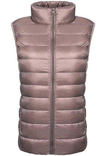 Lovache Damen Weste Down Sweater Steppweste Leicht und Wärmend Stehkragen Reißverschluss Winterjacke, Khaki, Gr. L