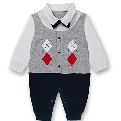 Baby Sweatjacke Hirolan übergangsjacke Neugeboren Lange Hülse Spielanzug Jungen Mädchen Overall Krawatte Outfit Mode Kind Baumwolle Mischung Kleider (59, Grau) (Anzug Mischung)