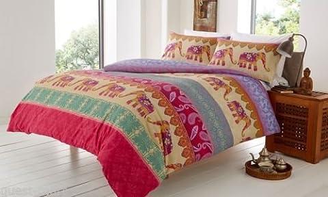 Home TLC Bettwäscheset, enthält Bettdeckenbezug und Kissenbezüge, Design mit Elefantenmotiven, erhältliche Größen: Einzelbett / Doppelbett / King-Size-Bett / Super-King-Size-Bett, 50 % Baumwolle / 50 % Polyester, multi, Super (Ge Quilt Designs)