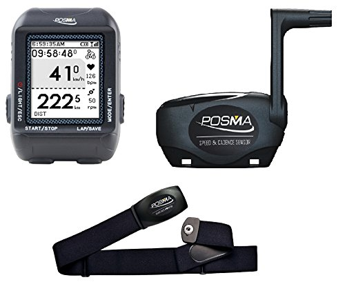 POSMA D3 GPS Cycling Bike Computer Speedometer Odometer with Navigation, ANT+ Support STRAVA and MapMyRide Bundle with BHR20 Heart Rate Monitor and BCB20 Speed/Cadence Sensor