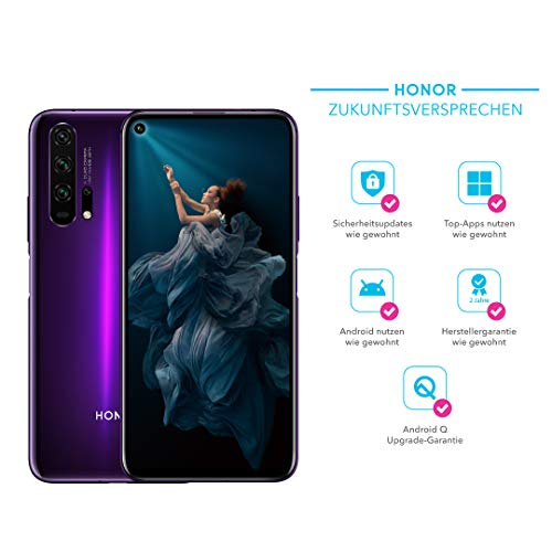 HONOR 20 Pro Dual-SIM Smartphone Bundle (6,26 Zoll, 256GB ROM, 8GB RAM, Android 9.0) Phantom Black + 48MP AI Quad Kamera + gratis MicroUSB zu USB Typ-C Adapter [Exklusiv bei Amazon] - Deutsche Version