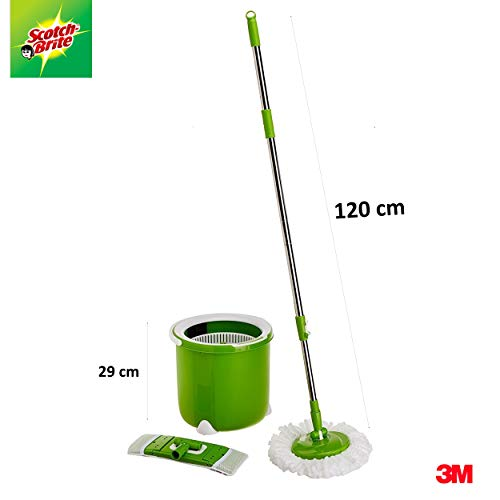 Scotch-Brite-Jumper-Spin-Mop-with-1-Round-1-Flat-Mop-Refill
