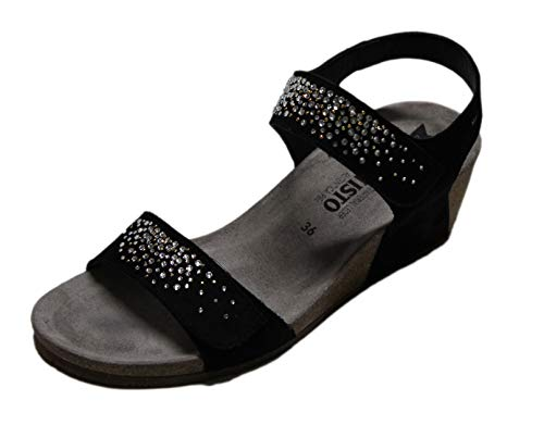 Mephisto Maria Spark Black Sandalo Due Velcro con Strass (38 EU)