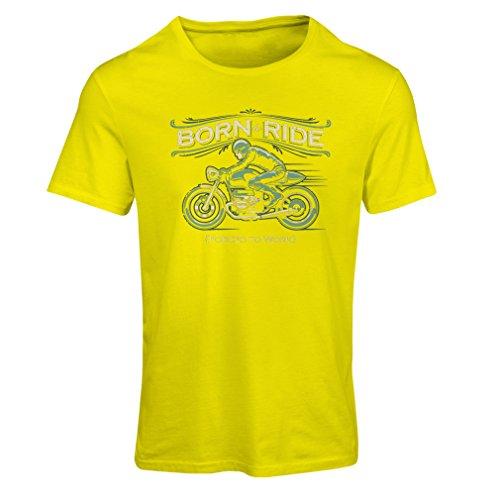 Frauen T-Shirt Born to Ride, Forced to work - saying shirts for motorcyclists (XX-Large Gelb (Ahs Kostüme)