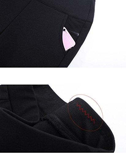 YiLianDa Femme Pantalon Droit Printemps Hiver Mince Taille Haute Leggings Collant Moulant Chic Noir