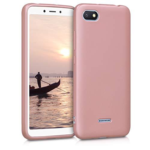 kwmobile Funda para Xiaomi Redmi 6A - Carcasa para móvil en TPU Silicona - Protector Trasero en Oro Rosa Metalizado