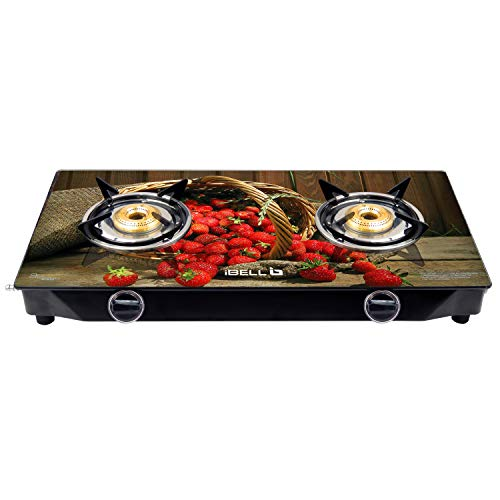 iBELL 02DPEARL Glass Top Gas Stove 2 Burner with 7MM...