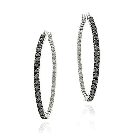 Argent Sterling diamant Accent noir-boucles d