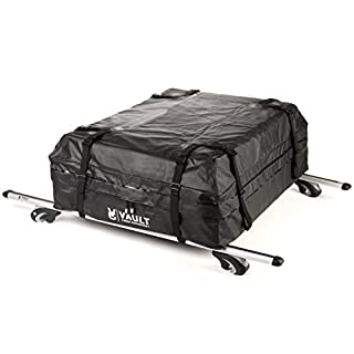 Universal Car Roof Bag from Vault Cargo - Rooftop cargo bag to strap to your cars existing roof bars. Each roof box can fit 425 Liters of various sized cargo with its durable tarpaulin material!