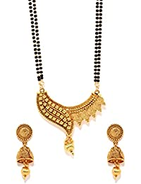 Bindhani Traditional Gold-Plated Long Mangalsutra & Earrings Set For Women