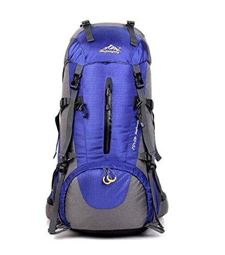 Profi Outdoor Sport Rucksack Bergsteigen Tasche 50L Mit Regen Abdeckung Blue