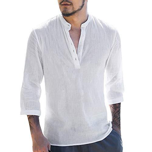 Amoyl Männer Baggy Baumwolle Leinen 3/4 Ärmel Knopf Retro V Ausschnitt T Shirts Tops Bluse -