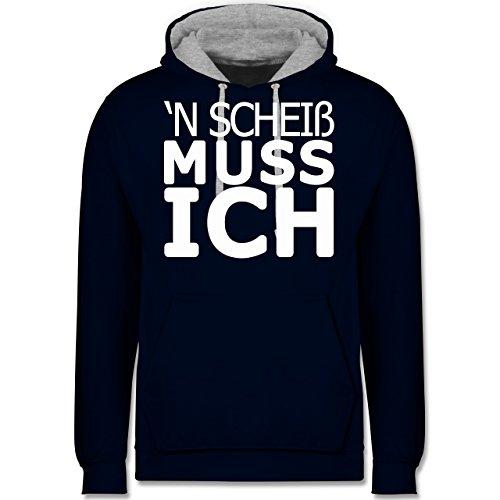 Statement Shirts - 'N Scheiß muss ich - Kontrast Hoodie Dunkelblau/Grau meliert