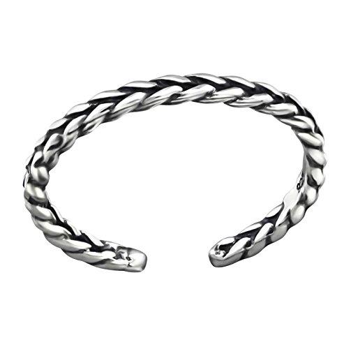 FIVE-D Ring schmaler Zehenring Grösse einstellbar gedreht aus 925 Sterling Silber im Geschenketui