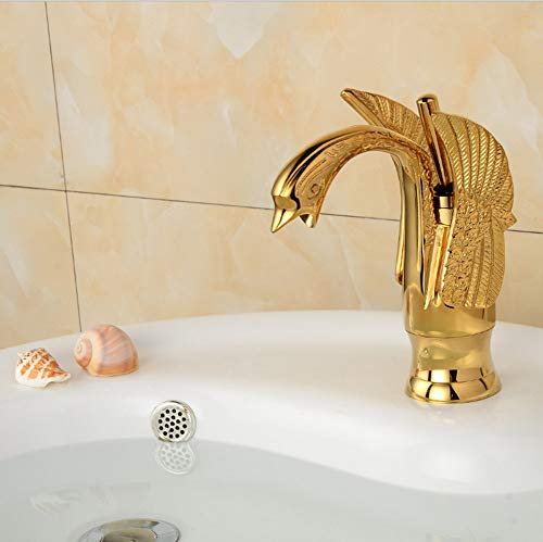 Makeyong Gold Color Widespread Lavatory Sink Faucet Swan Basin Faucet Sink Mixer Wall Mounted Basin Faucet -