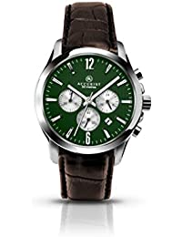 Accurist Men's Quartz Watch with Green Dial Chronograph Display and Brown Leather Strap 7065.01