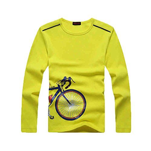 KID1234 Jungen-Langarm-Rundhals-Druck-Baumwoll-T-Shirt (Sicherheit T-shirt Gelb)