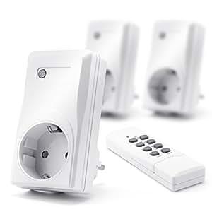 Arendo - Set di prese telecomandate (3+1) per ambienti interni (Indoor) | Set di 3 prese con azionamento telecomandato | 1x telecomando | Indicazione di stato a LED | Protezione per bambini | Alto raggio di ricezione di ca. 25m