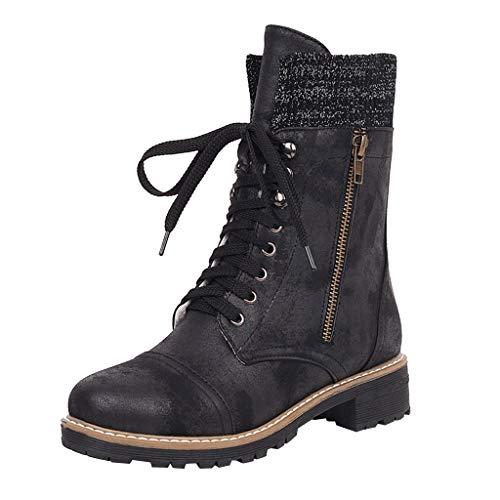 ➤Refill➤Stiefel und Stiefeletten für Damen,Klassischer Leder Knöchel Biker Boots Combat Boots Schnürhalbschuhe Kurzschaft Stiefel Winter Boots Winter Warme Schneestiefel
