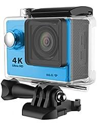 Cámara deportiva de acción 4K WIFI + accesorios, Azul