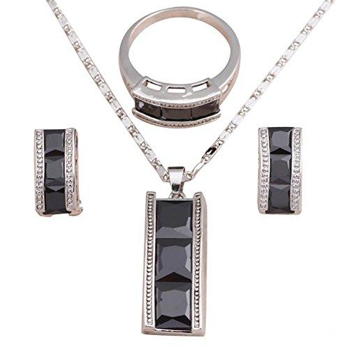 Bling alla Moda Argento Filled collana e orecchini set di gioielli anello nero onice cristallo misura anello 5,566,57,5899,5js570a