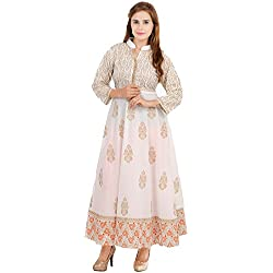 Zoeyam'S Women's Cotton Anarkali Suit (ZC0006XL_White_X-Large)