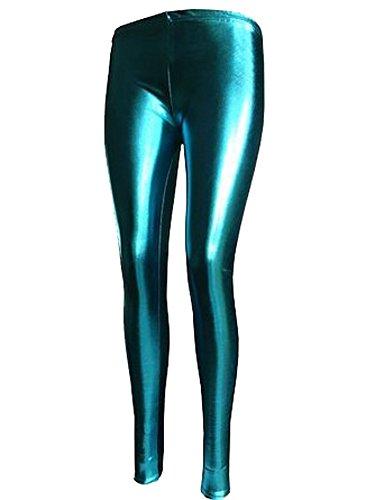 mix_lot reizvoller metallisch glänzenden Leggings Damen Feste dünne Phantasie langbeinige Partei-Vereinabnutzung Größe 36-42 (M/L 40/42, Türkis)