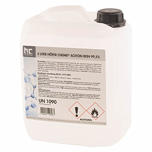 Aceton Lösungsmittel (1 x 5 L Aceton rein 99,5% - VERSANDKOSTENFREI - frisch abgefüllt - im handlichen 5L Kanister)