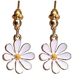 Daisy Flower Earrings Pendientes Colgantes pequeños Colgantes pequeños Pendientes Largos Regalo, Arete Durable y útil