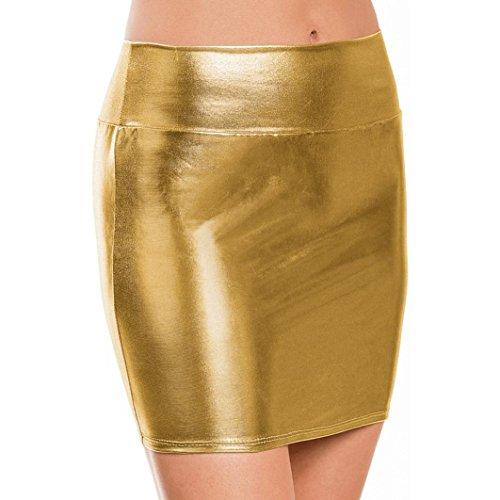 Minirock Frauen Solide Bare Nachahmung Leder Dessous Rock Sexy Schlanke Gesäß Kurze Gerade Minirock (Gold) (Schlanken Anzug)