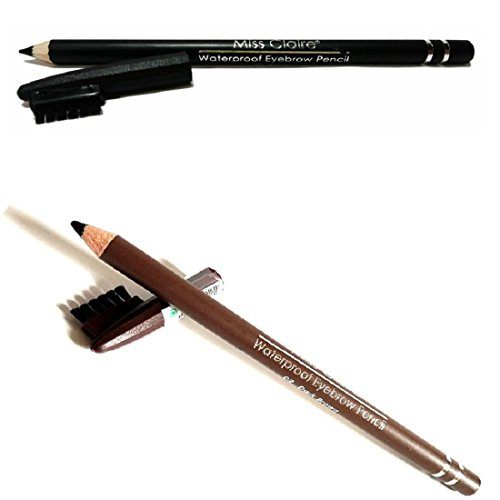 Miss Claire Women's WaterProof Eyebrow Pencil with Brush (Black, Dark Brown)