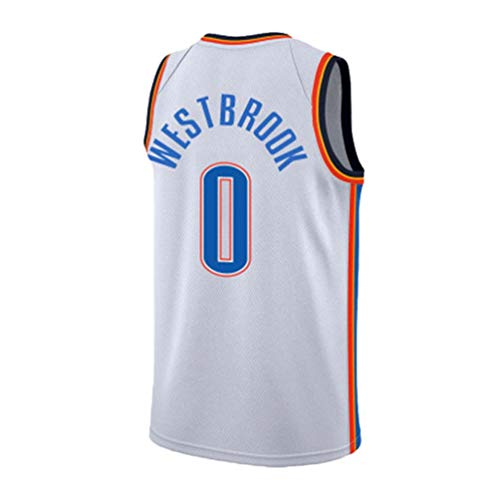 Pilang Basketball-Spieler-Jersey, Russell Westbrook, Oklahoma City Thunder # 0, Tops Westen Sleevless T Shirts (Color : White, Size : L)